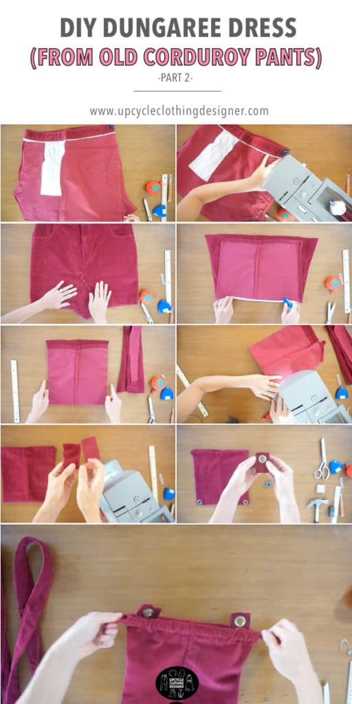 how to make the top bodice of the DIY dungaree dress from old corduroy pants