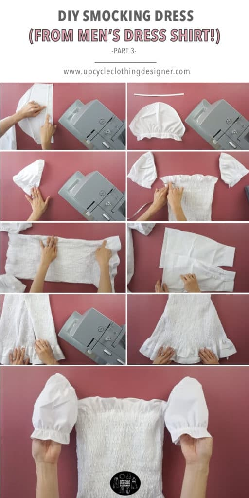 How to finish smocking dress from men's dress shirt.