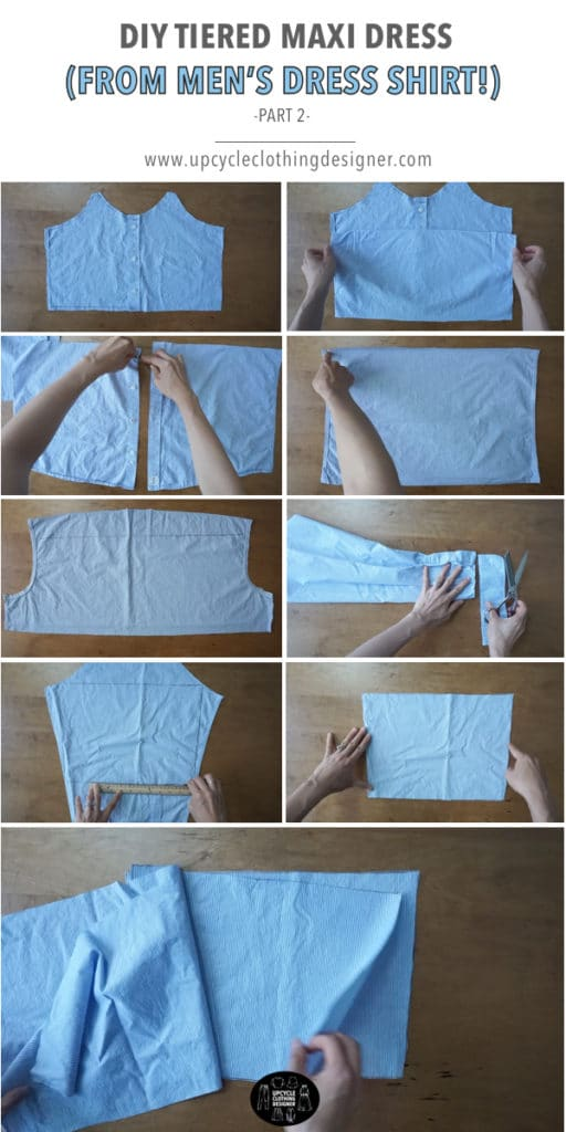 How to make the bottom dress pattern for the tiered maxi dress from men's dress shirt
