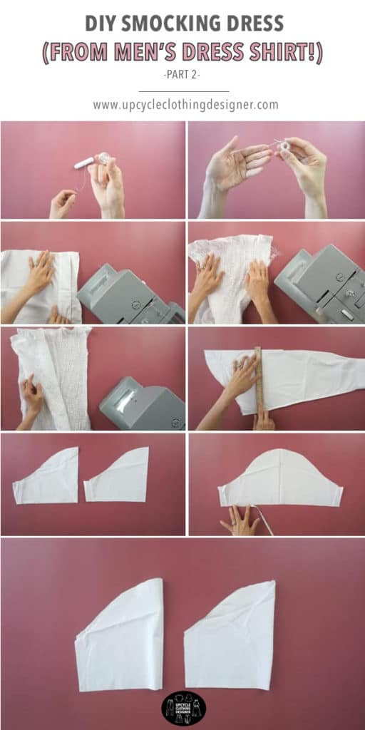 How to make puff sleeve for smocking dress from men's dress shirt.