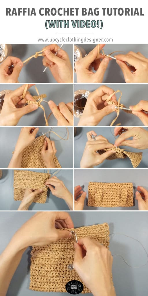 How to make a crochet bag with raffia ribbon