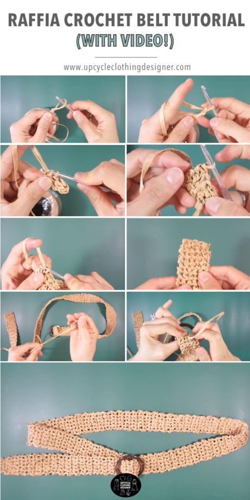 How to make a crochet belt with raffia ribbon