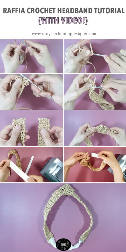 How to make a crochet headband with raffia ribbon