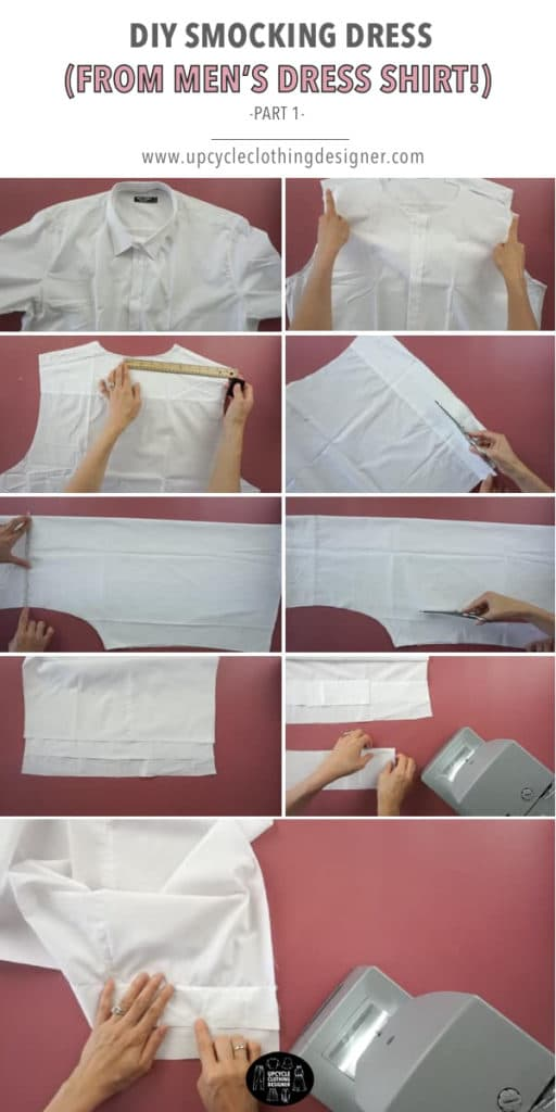 How to make top bodice for smocking dress from men's dress shirt.
