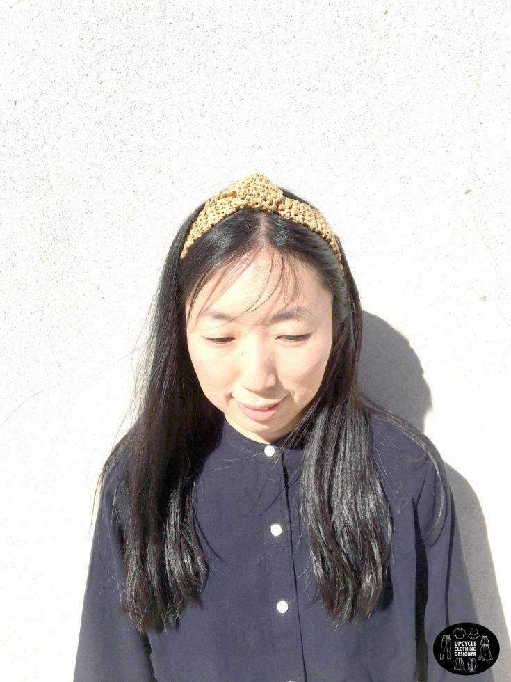 Front view of the raffia crochet headband
