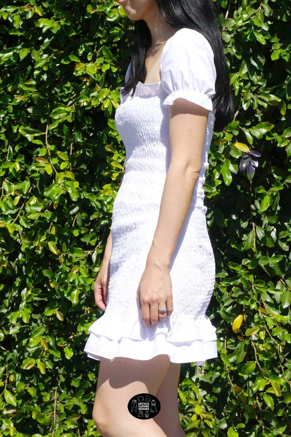 Sideview of the smocking dress from men's dress shirt
