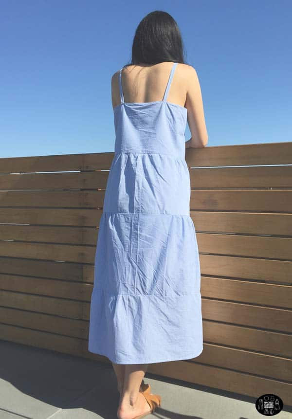 Back view of the tiered maxi dress from men's dress shirt