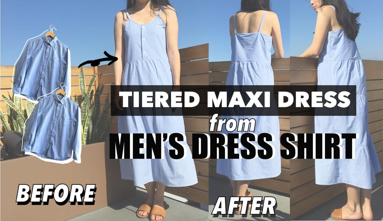 Tiered dress from men's dress shirt before and after