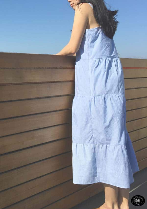 Sideview of the tiered maxi dress from men's dress shirt