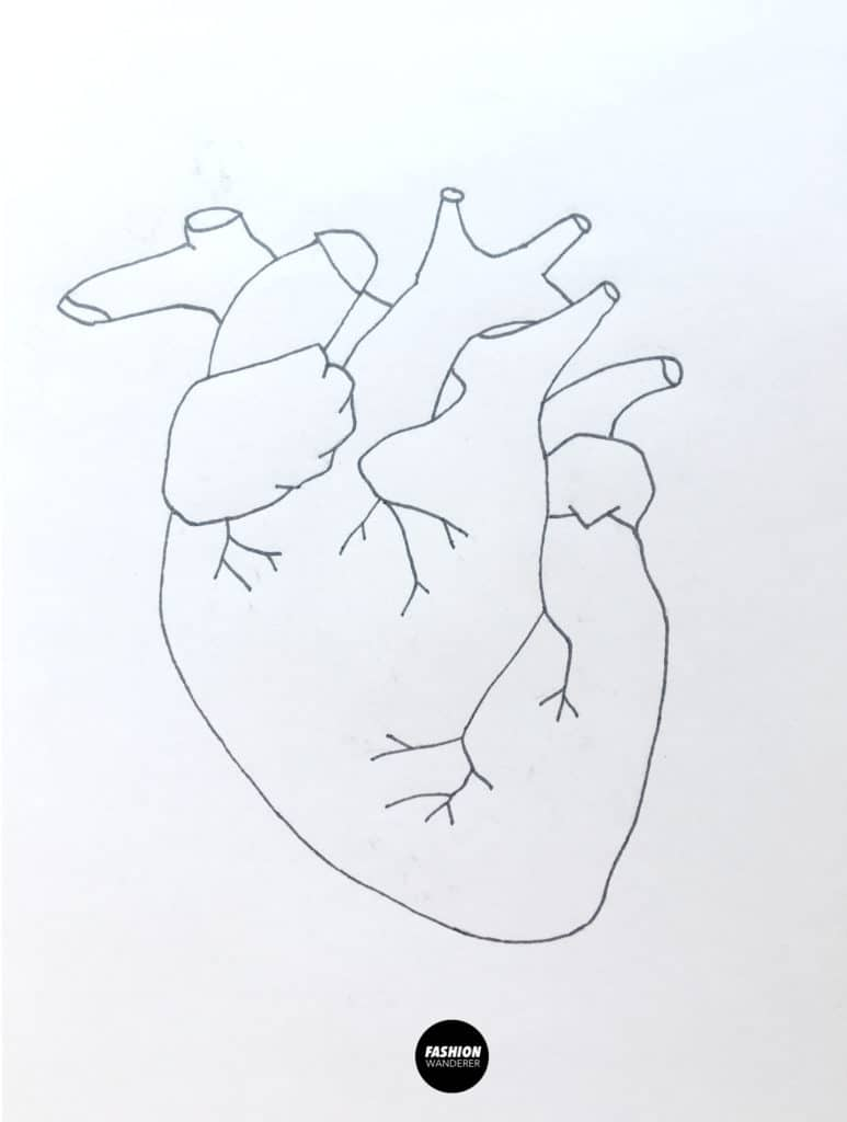 free anatomical heart embroidery pattern