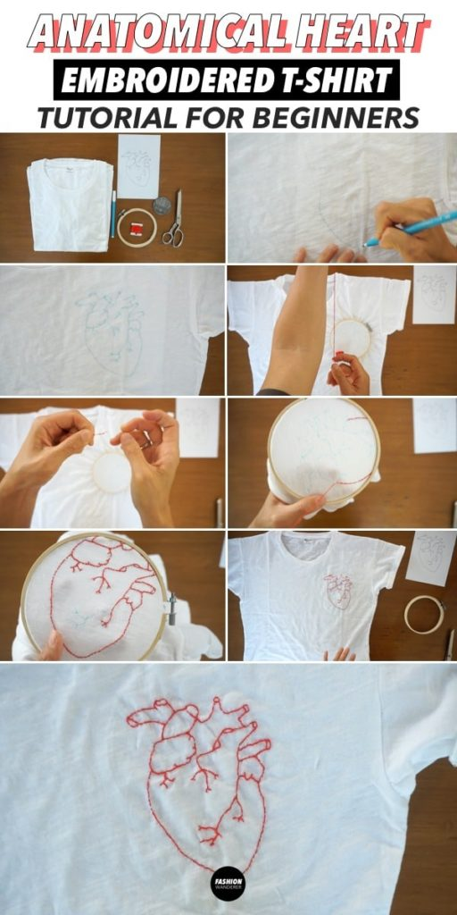 diy anatomical heart embroidery step by step tutorial
