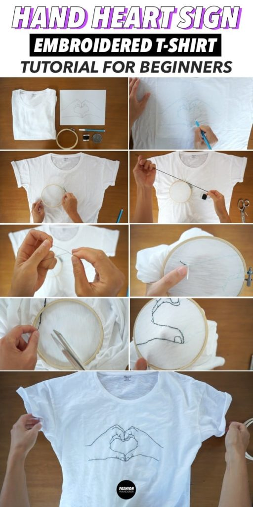 diy hand heart sign embroidery step by step tutorial