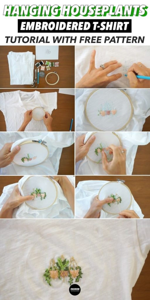 diy hanging houseplants embroidery step by step tutorial