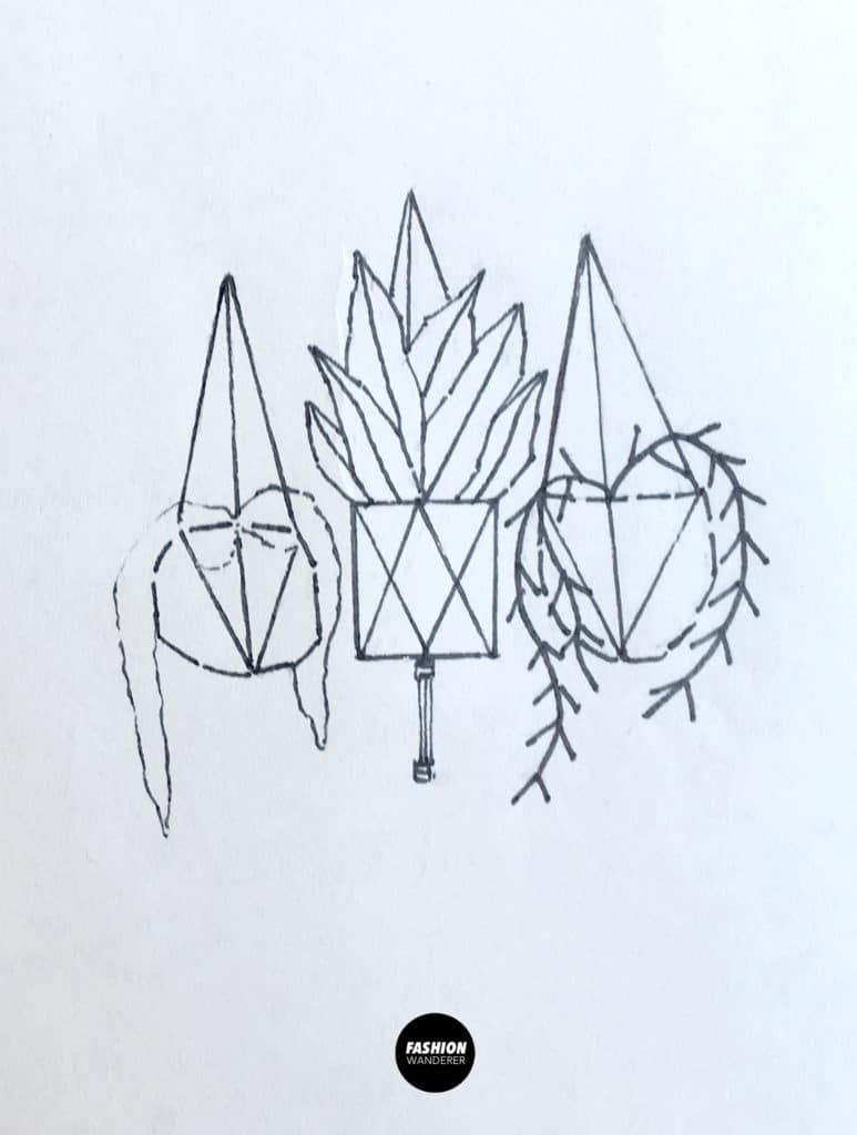 free hanging houseplant embroidery pattern