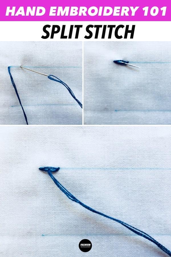 split stitch hand embroidery stitches