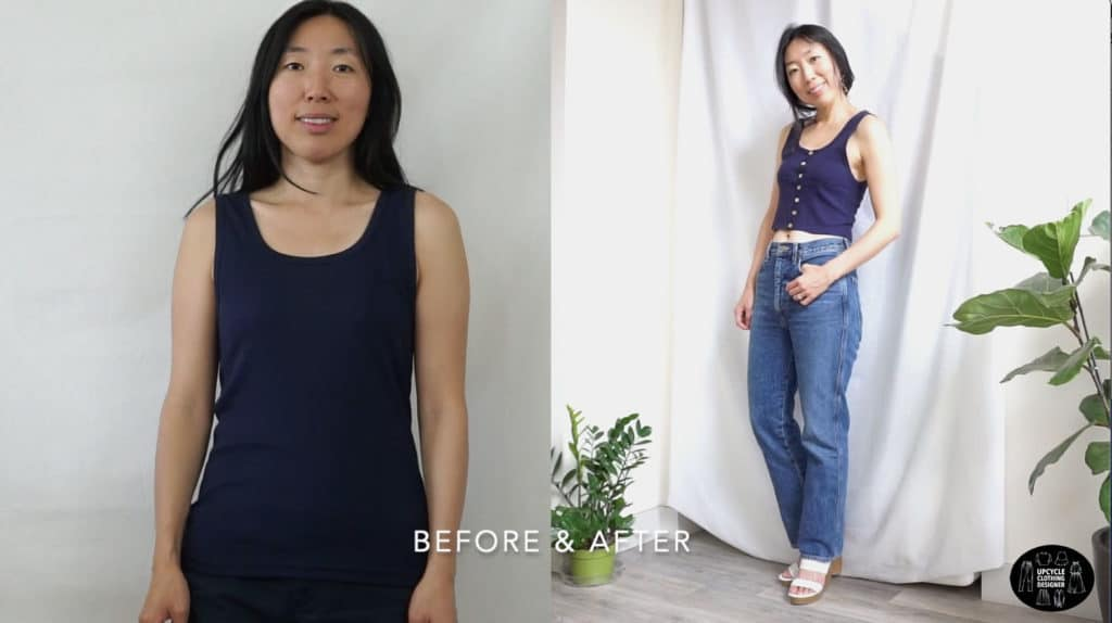 DIY button front tank top before and after