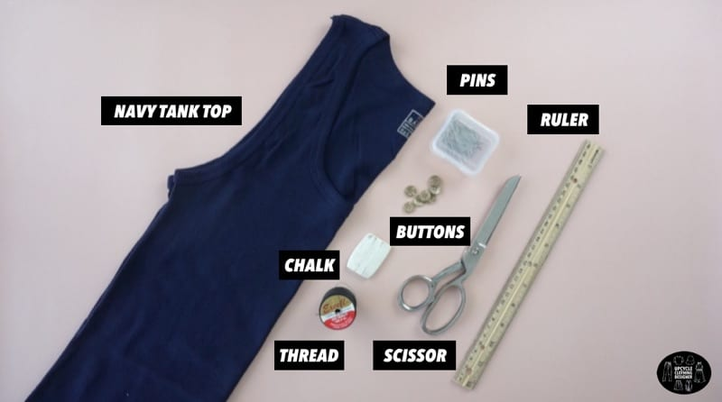 DIY button front tank top materials