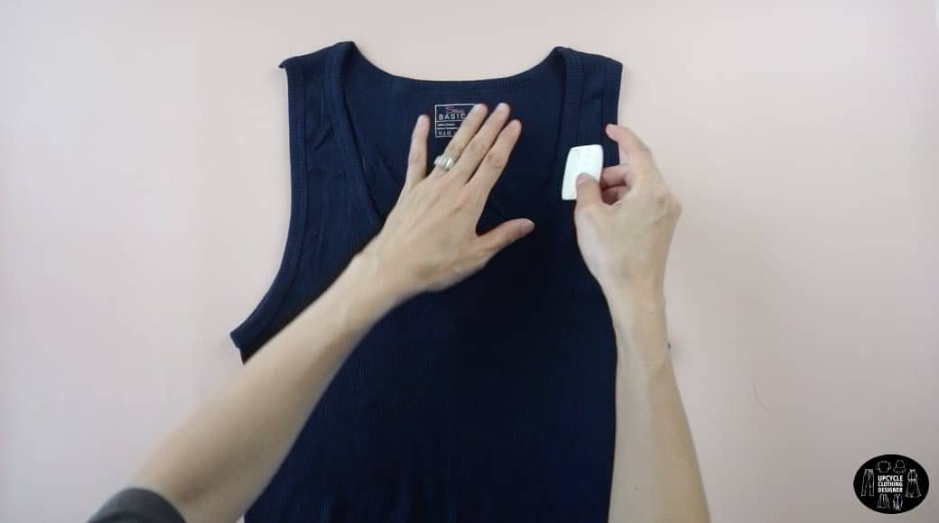 Copy the front neckline onto the back piece