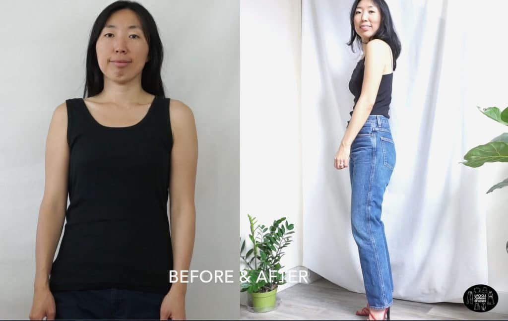 DIY high neck tank top before and after