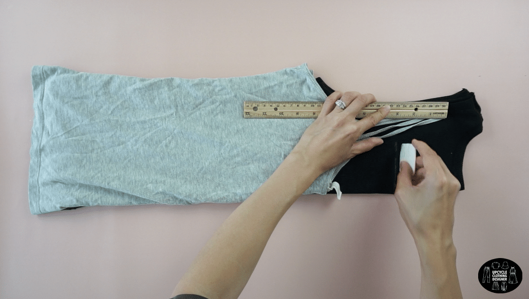 """Measure 3"""" down from top of shoulder strap."""
