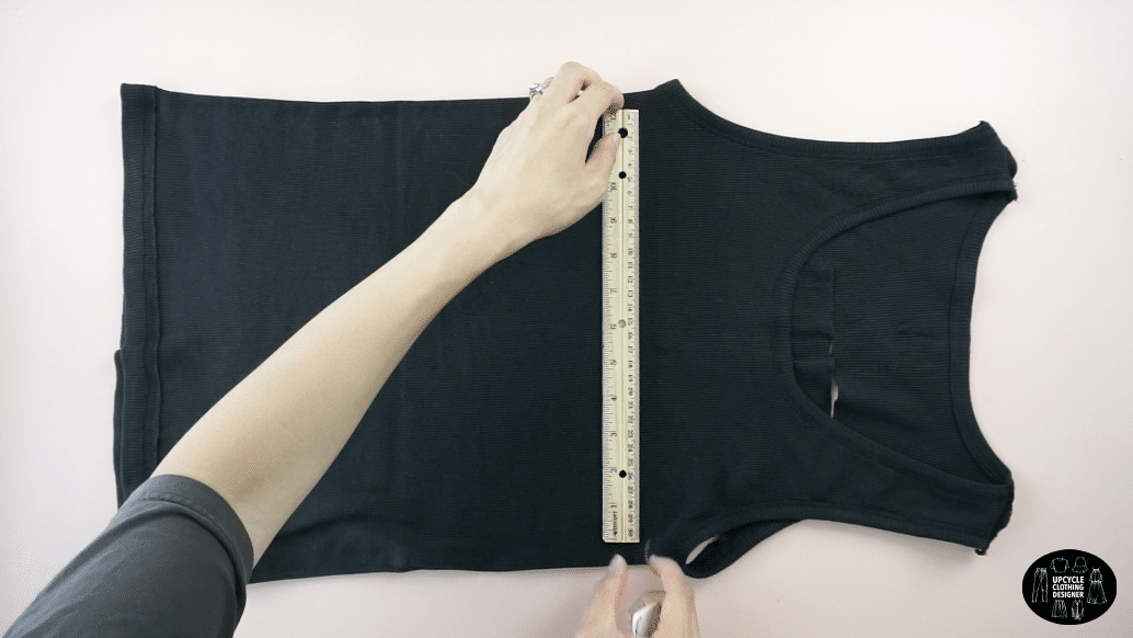 Measure straight back for the tank top.