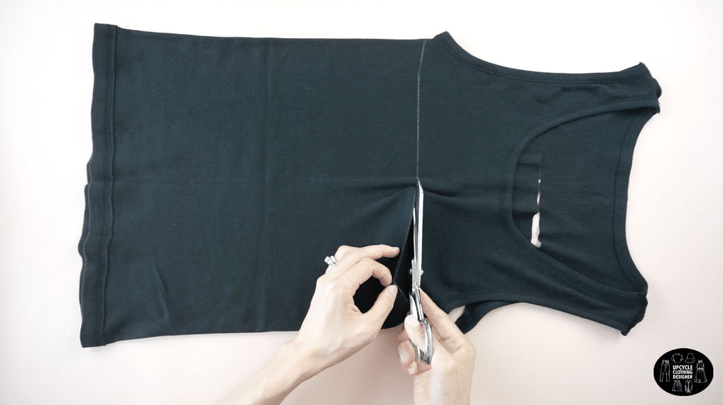Cut straight back for the tank top.