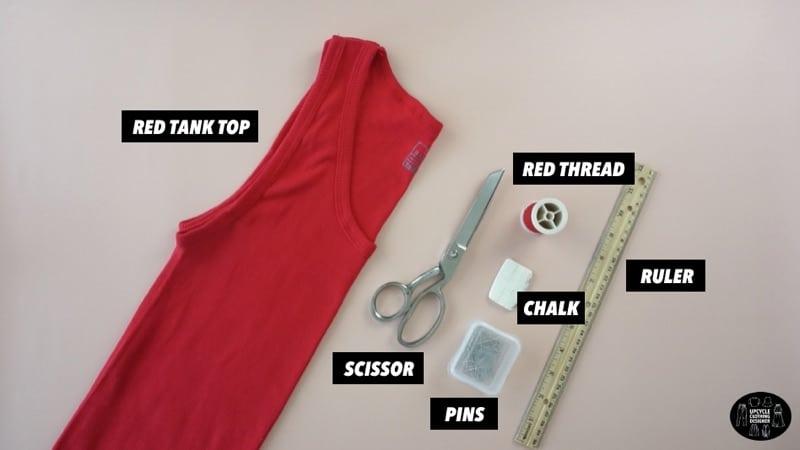 DIY mock neck tank top materials