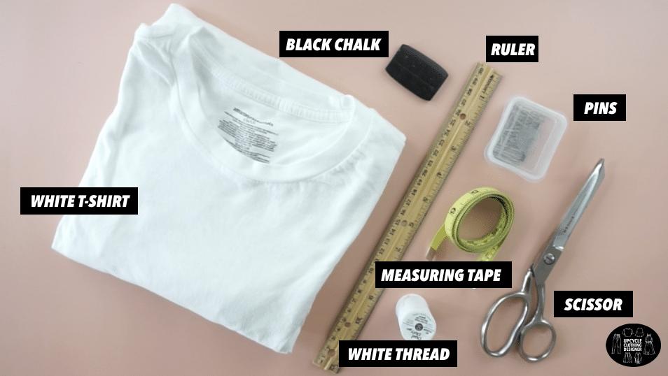 Materials to make a crop top from a t-shirt