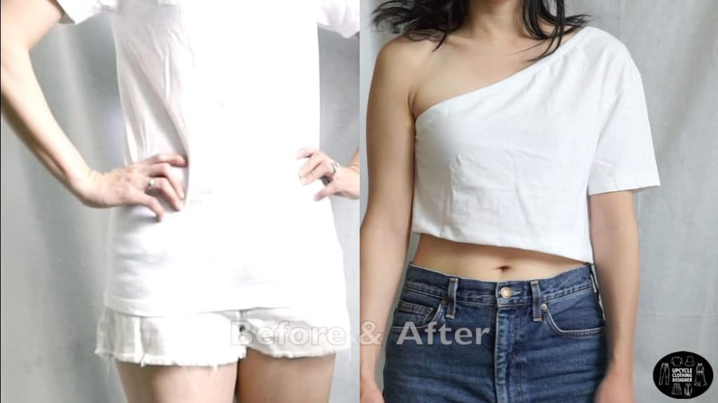 One shoulder crop top before and after