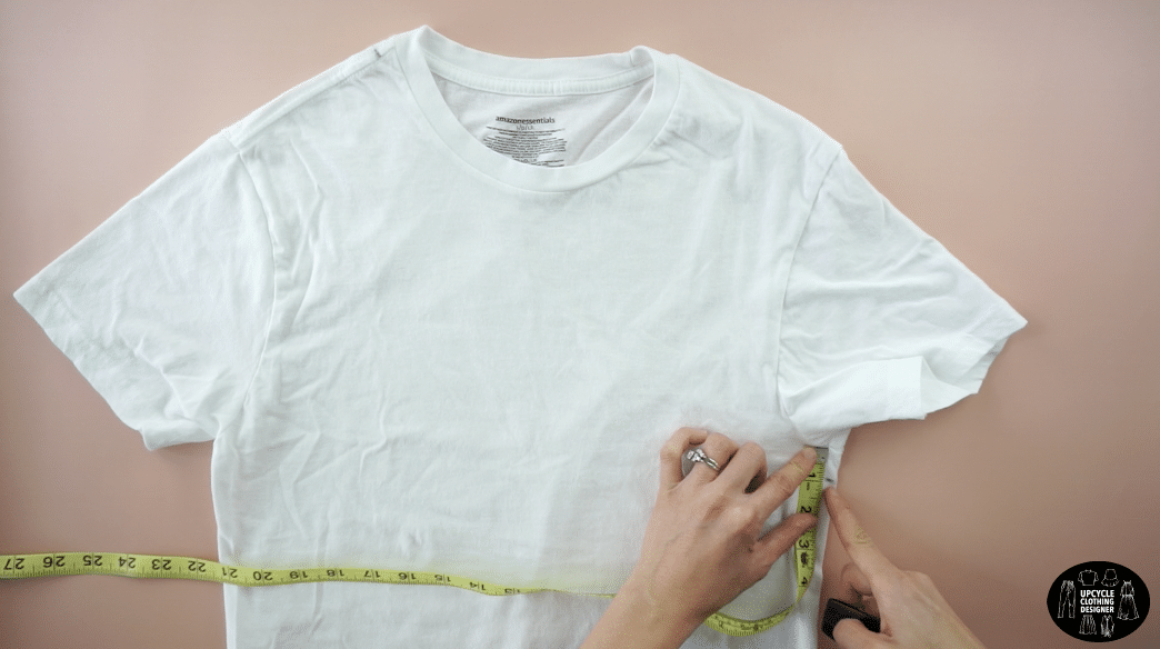 """Mark 1"""" down from the underarm seam on the opposite side."""