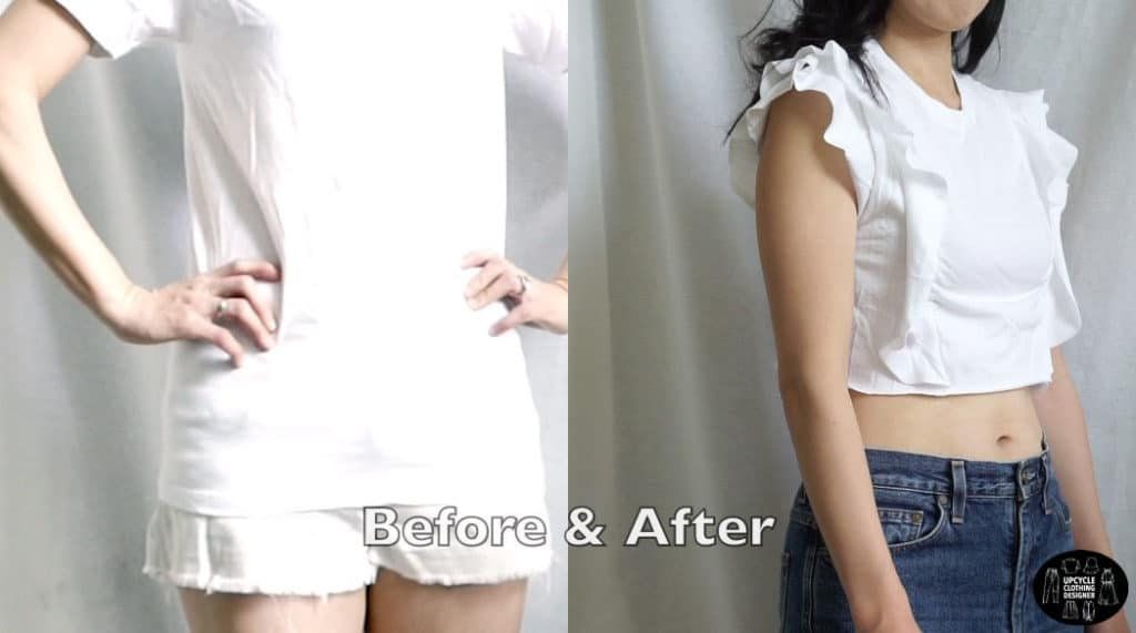 Ruffled crop top before and after