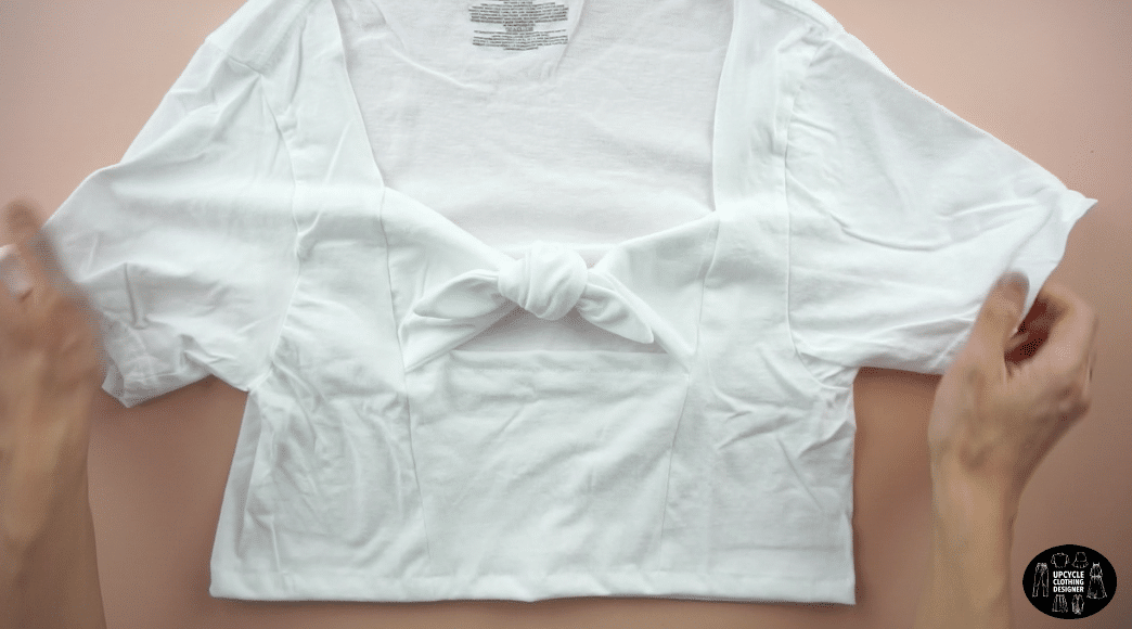 Tie the front pieces to finish the crop top.