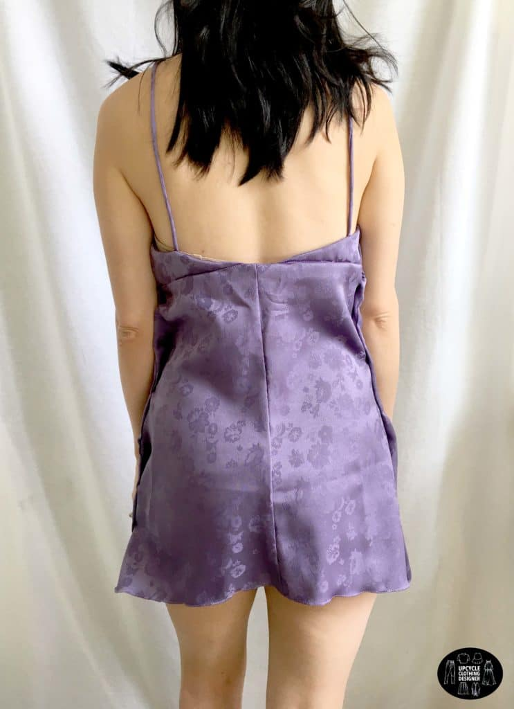 Cowl neck mini slip dress back view
