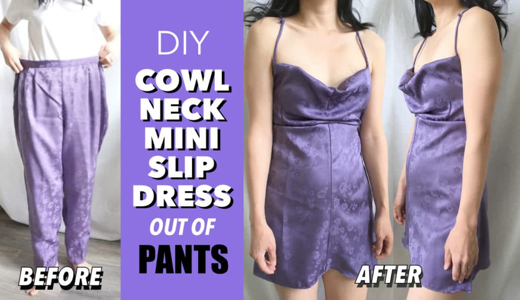Cowl neck mini dress from pants before and after