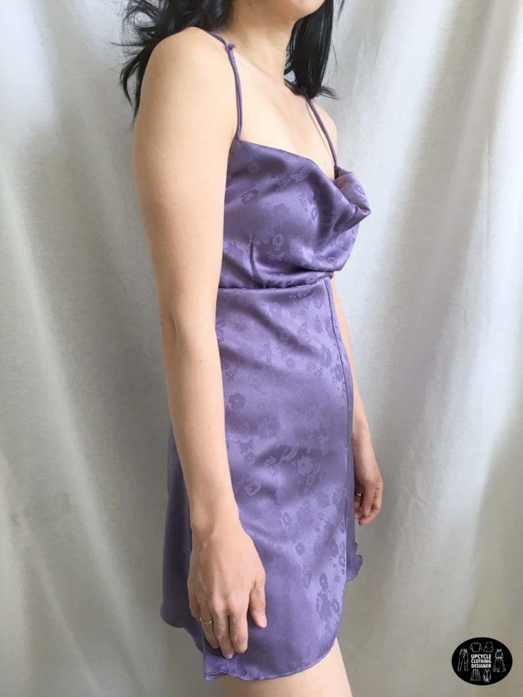 Cowl neck mini slip dress sideview