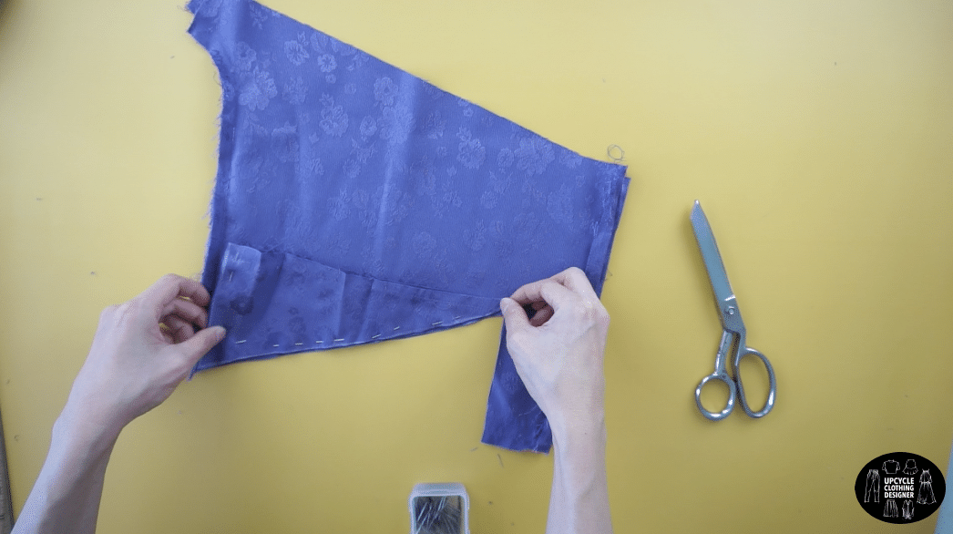 Make four matching triangle pieces for the back bodice of the slip dress design