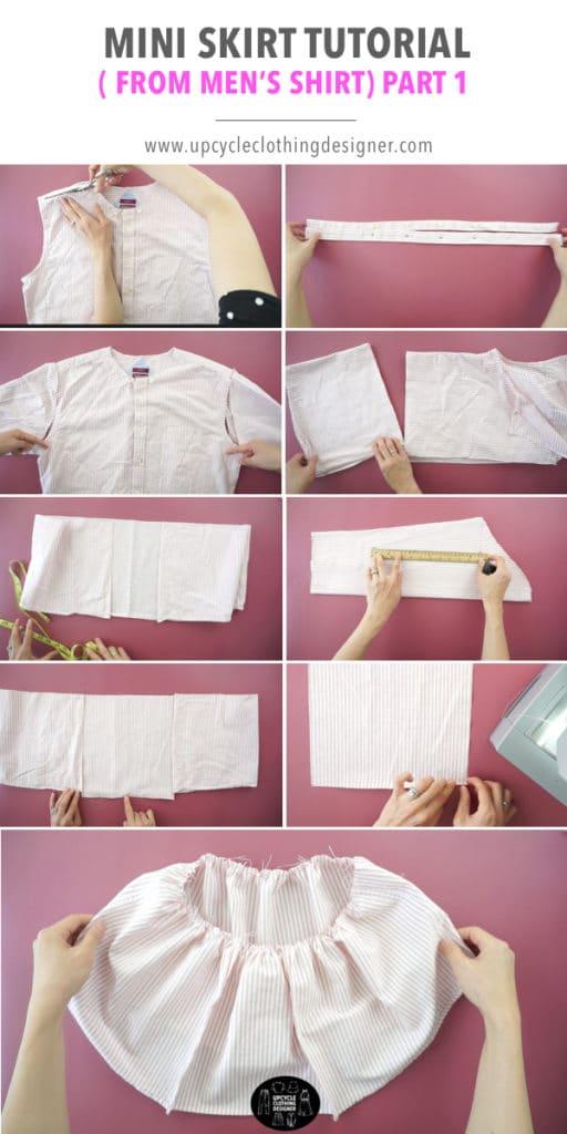 How to make the ruffled hem for the mini skirt from men's dress shirt