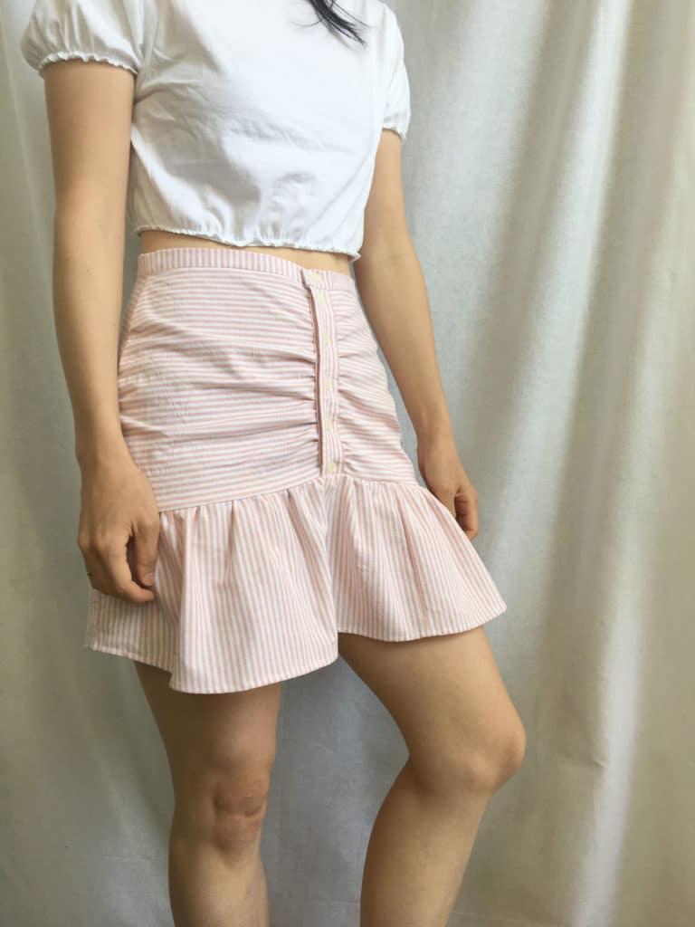 Sideview of the mini skirt from men's dress shirt