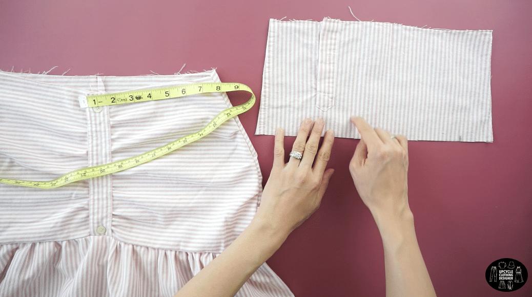 Measure the length of the waistline.