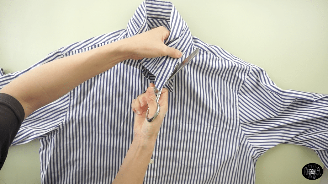 Use scissors to cut the collar and neckband off the dress shirt