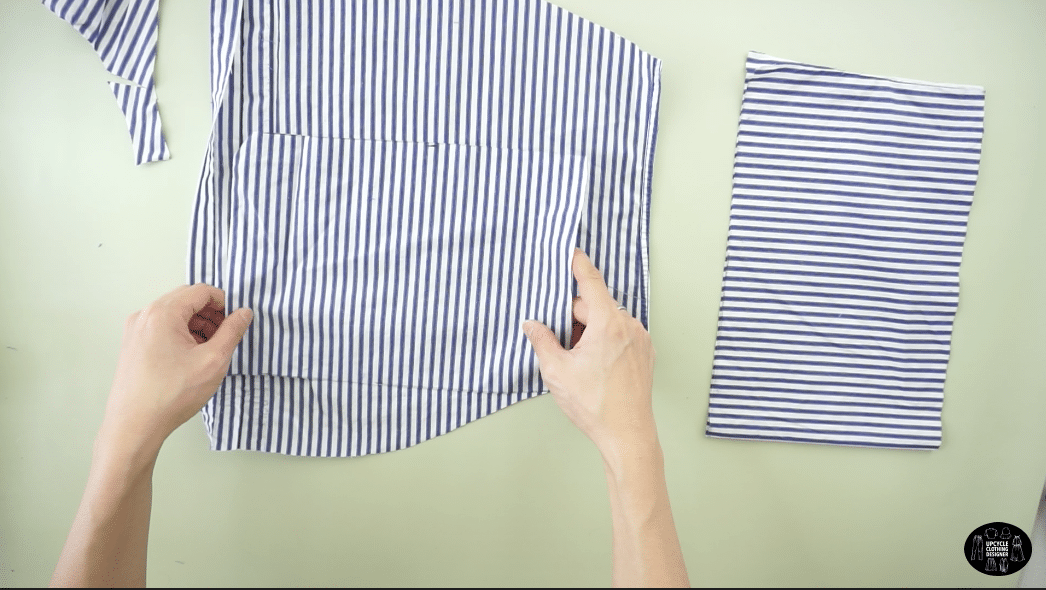 Cut the remaining peplum parts from the bottom of the chest pieces of the dress shirt.