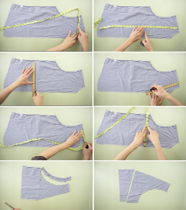 how to make the front bodice piece of the peplum blouse from mens dress shirt.