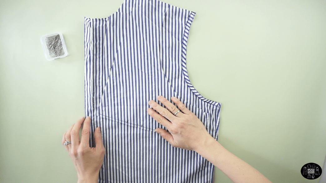 Copy the front bodice piece onto another piece of fabric to make a matching piece..