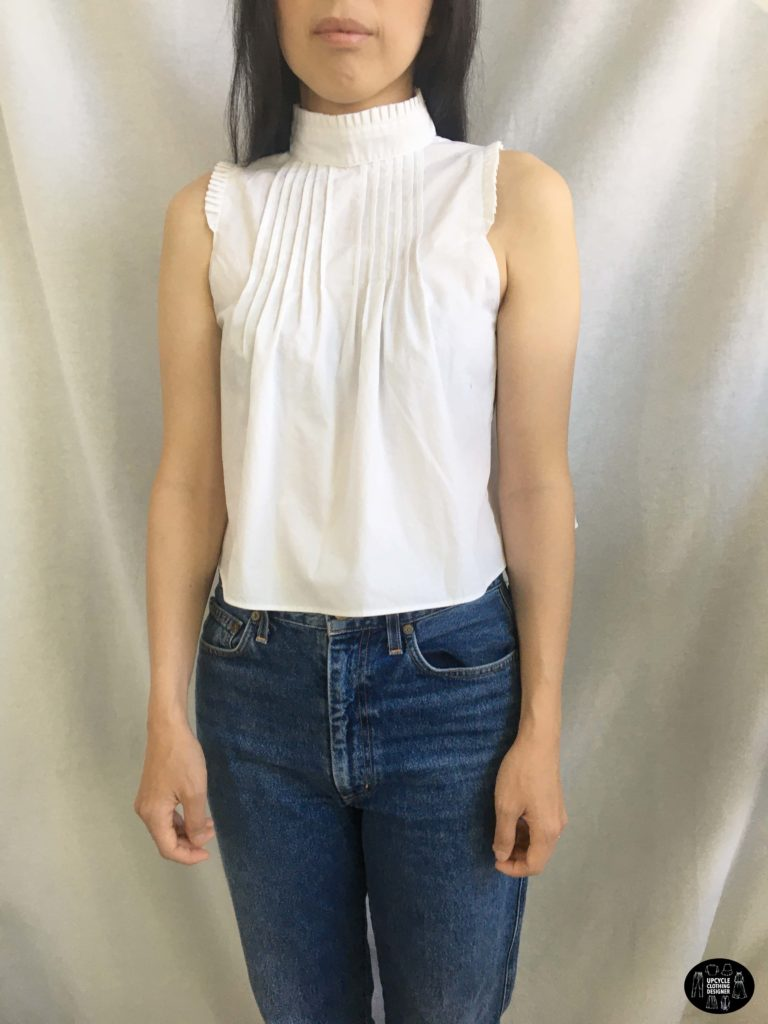 Upcycled pintuck poplin top front view