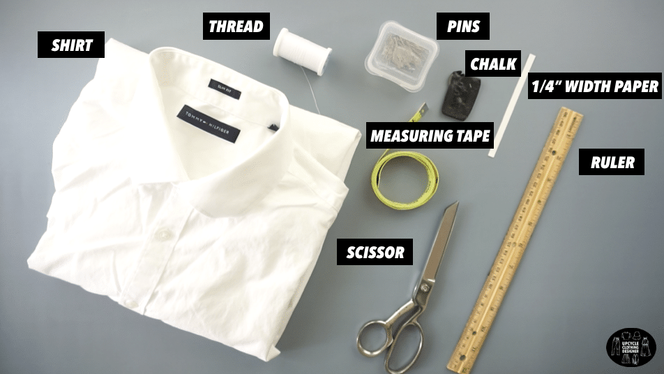 Materials to make a pintuck poplin top from men's shirt.