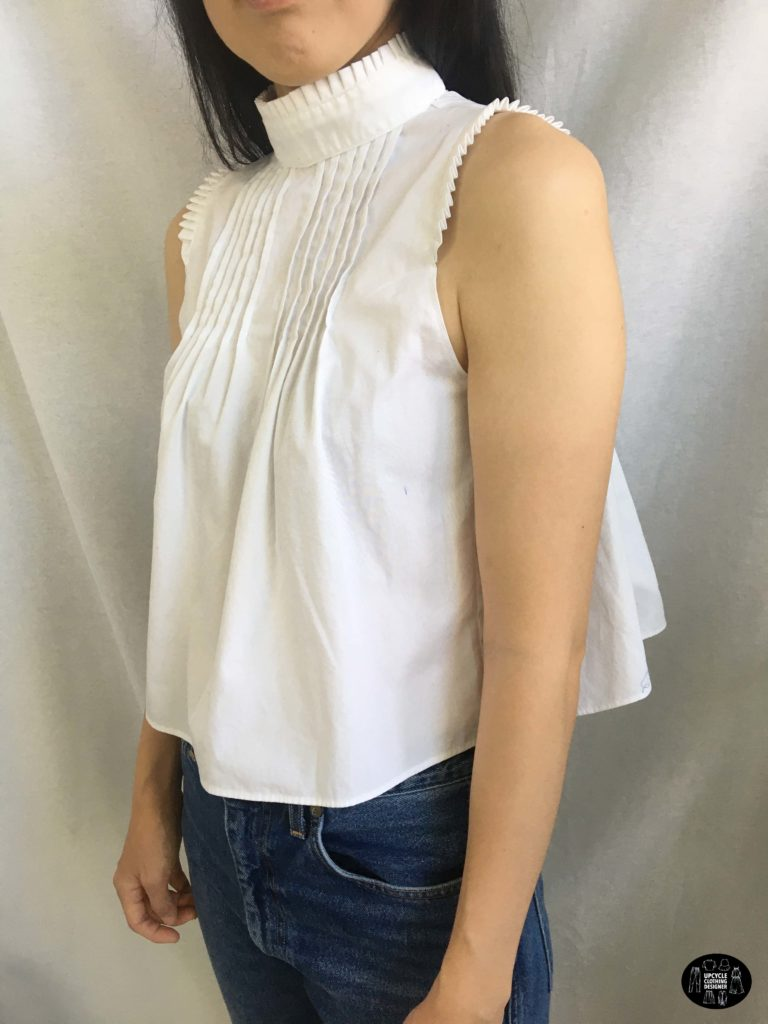 Upcycled pintuck poplin top sideview