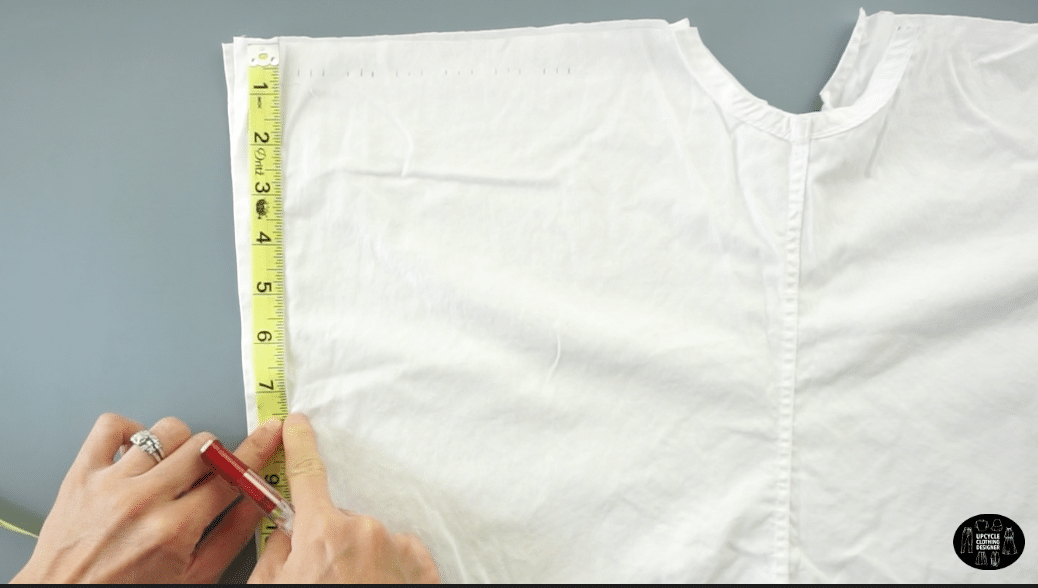 "Measure 8"" down the button placket."