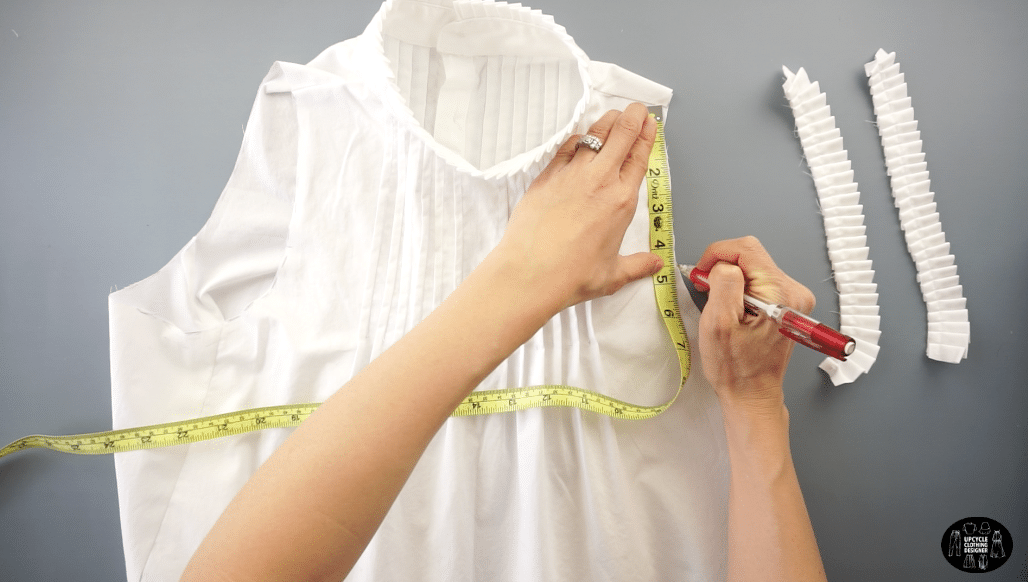 Measure the armhole opening to mark the placement of the knife pleat detail.