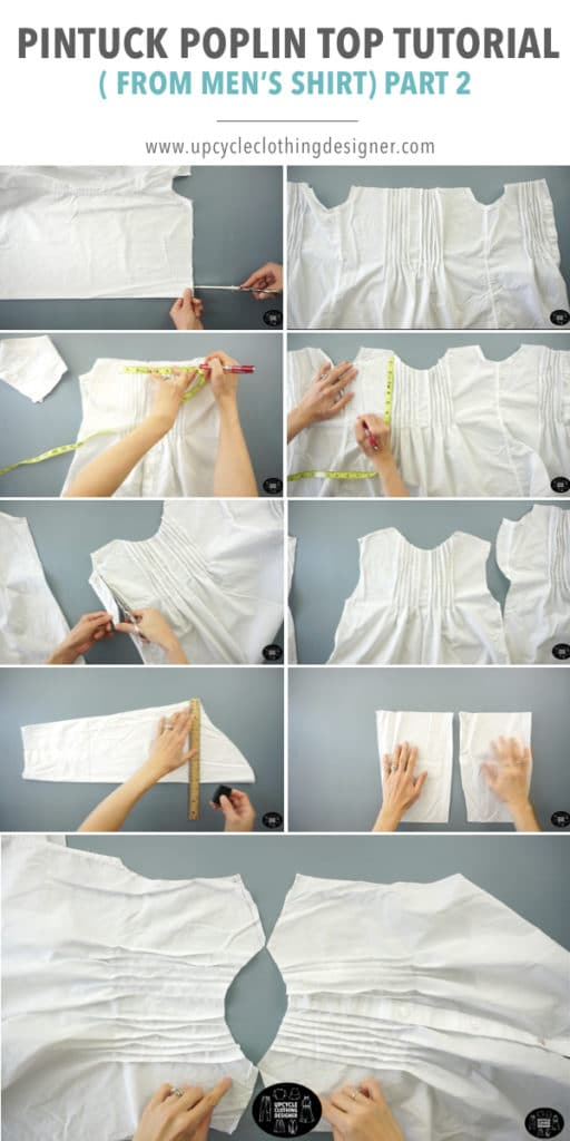 How to make the front and back piece of the pintuck top from men's dress shirt