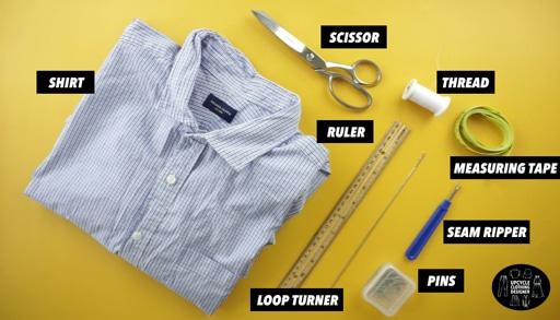 Materials to make a ruffle shoulder dress from men's shirt